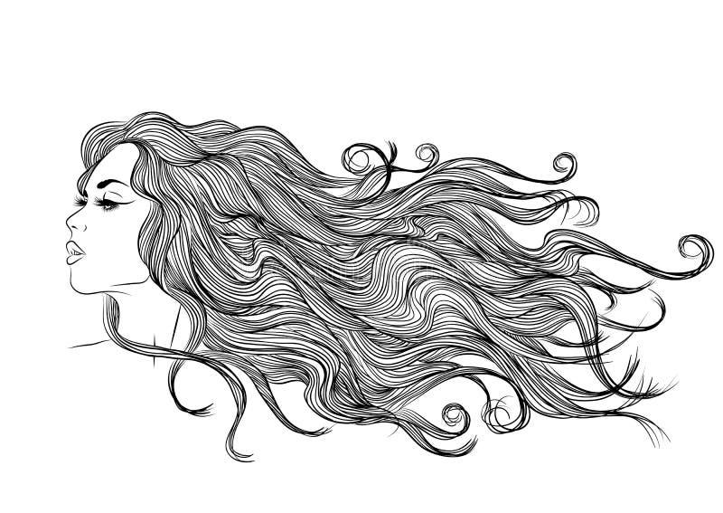 Desenho monocromático do esboço longo do perfil da menina do cabelo fotos de stock