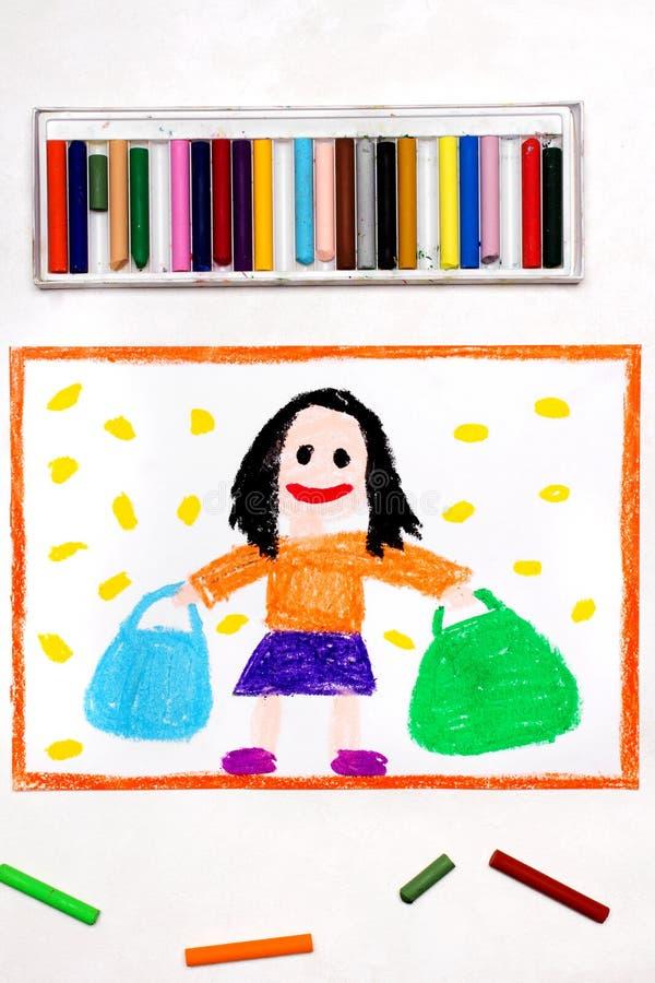 Desenho: Mulher feliz com o cabelo preto que guarda dois sacos de compras ilustração do vetor