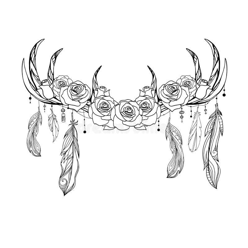 Desenho nativo do esbo?o dos chifres dos cervos com penas e rosas Ilustra??o tribal Elemento do boho do vetor ilustração stock