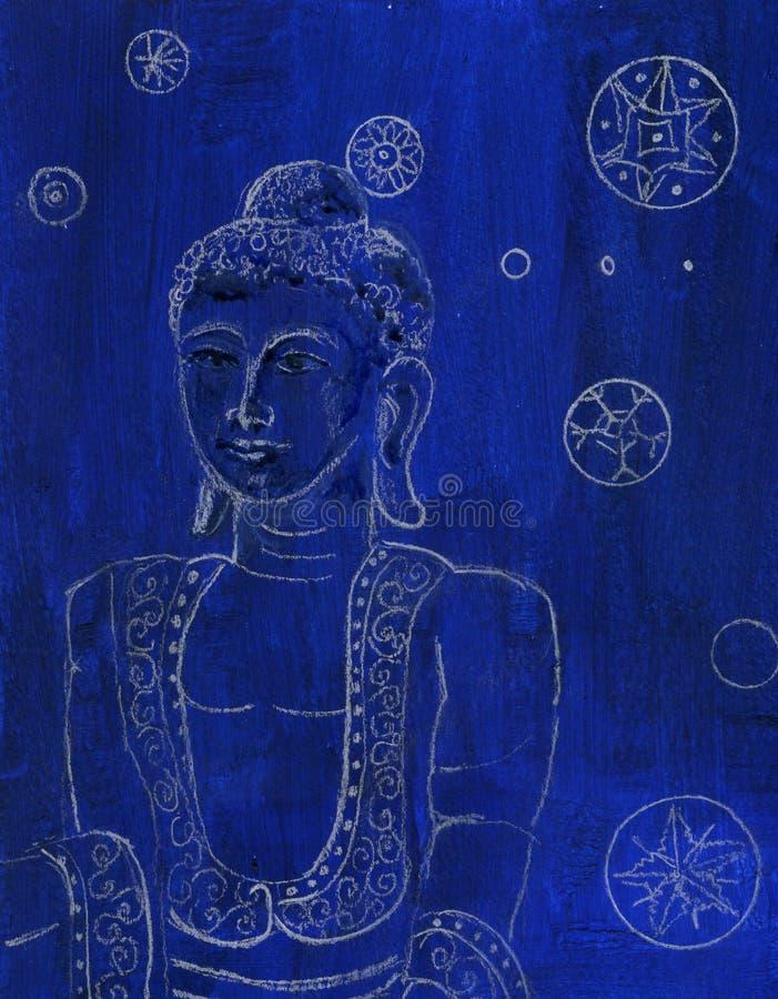 Desenho original azul e branco de Buddha imagens de stock royalty free