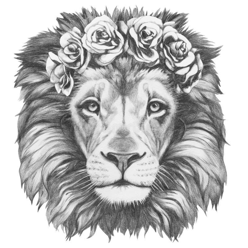 Desenho original do leão com a grinalda principal floral ilustração stock