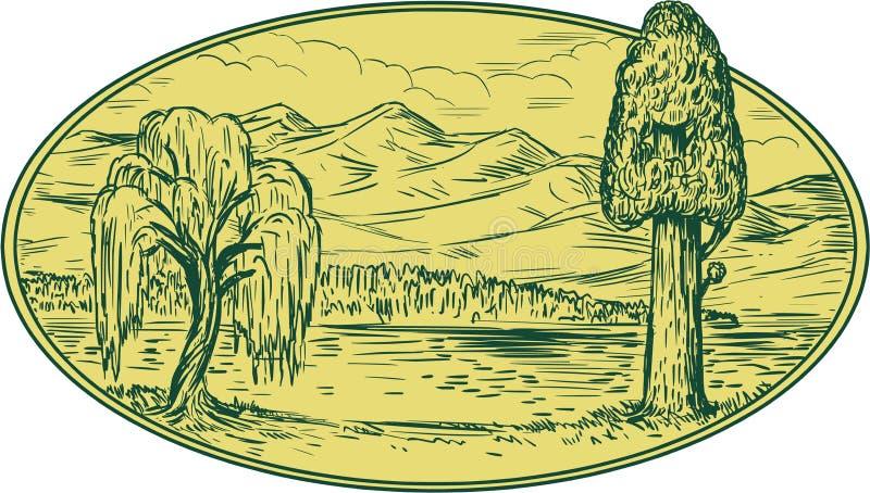 Desenho oval das montanhas de Willow And Sequoia Tree Lake ilustração stock