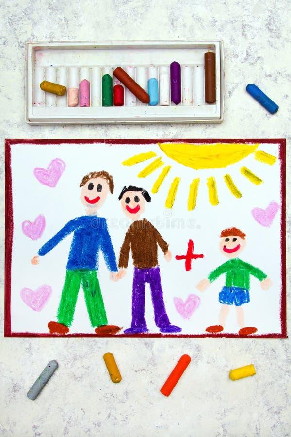 Desenho: Pais alegres felizes e seu filho adotado ilustração royalty free