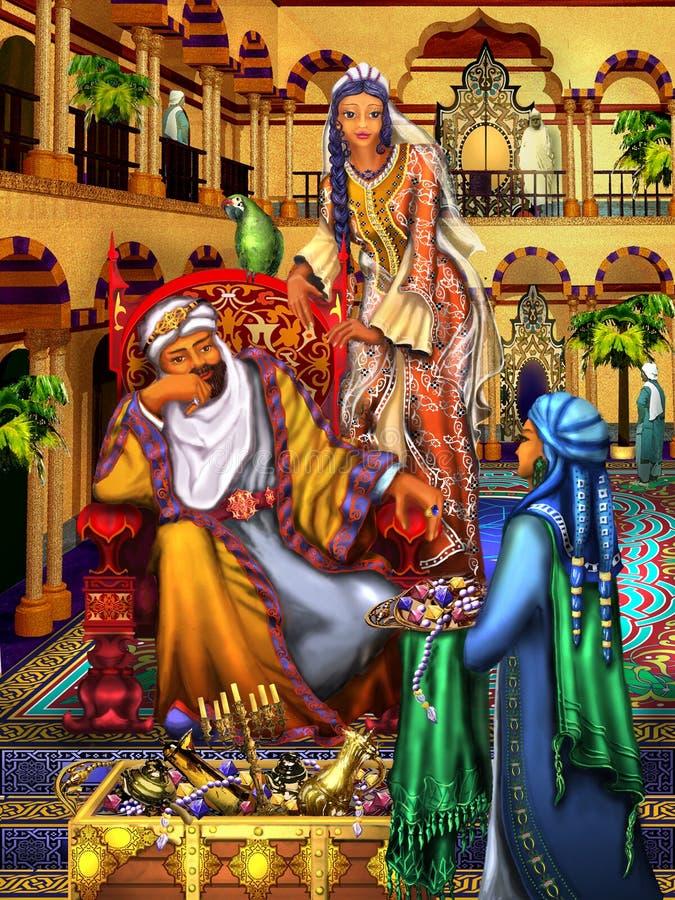 Desenho Palácio do leste Sultão e menina oriental bonita ilustração do vetor