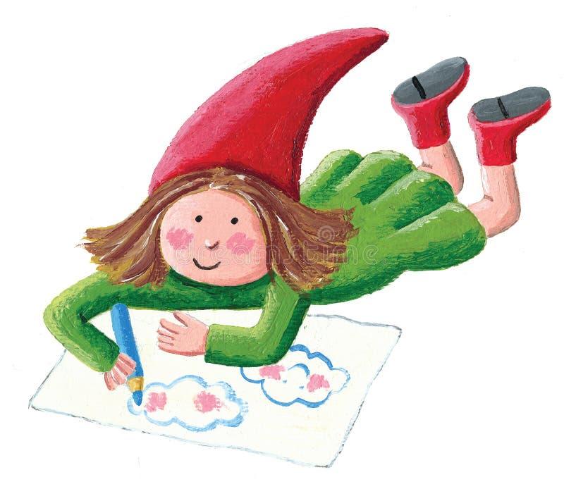 Desenho pequeno da menina do anão, colocando no assoalho ilustração do vetor