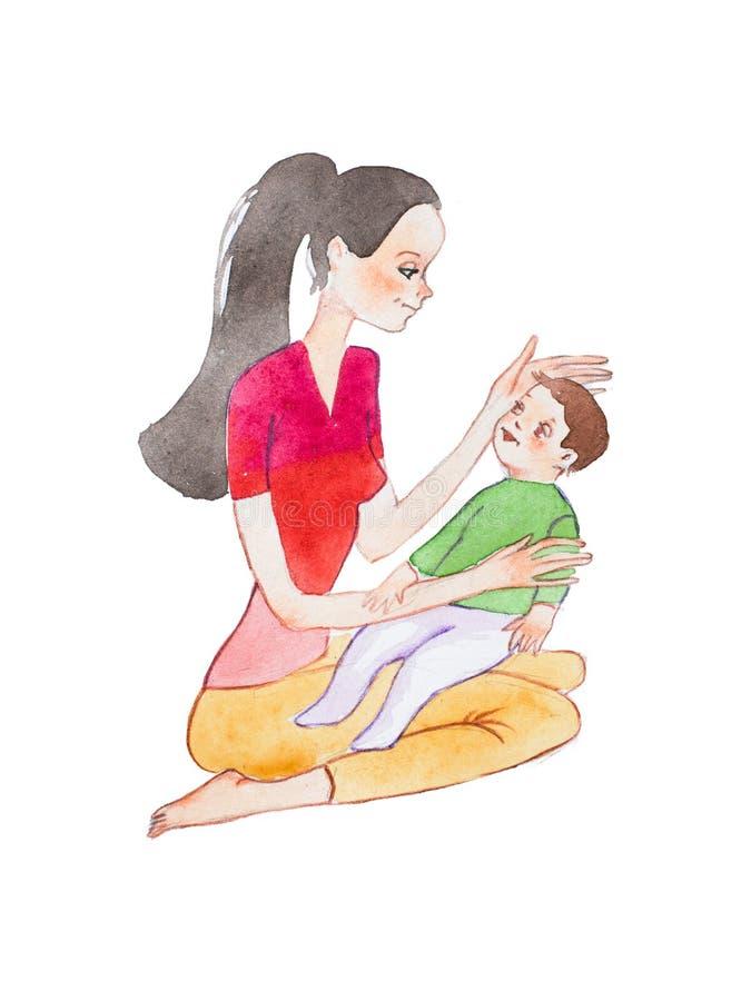 Desenho pintado à mão do Aquarelle da mãe nova que senta-se no assoalho que guarda seu filho do bebê que afaga sua cabeça ilustração stock