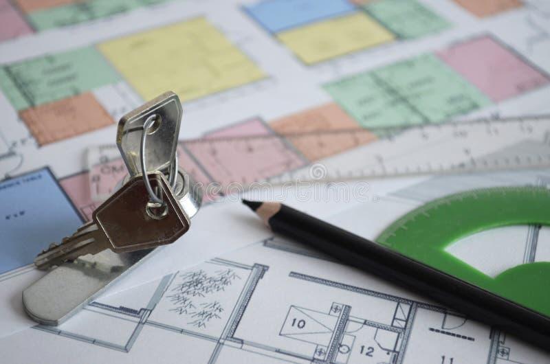 Desenho Plano da construção de casa foto de stock