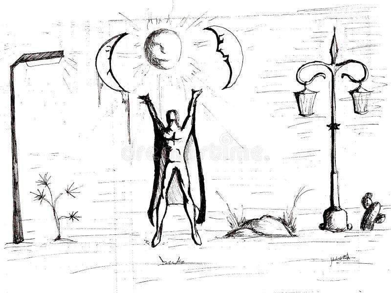 Desenho preto da pena com índice metafísico ilustração do vetor