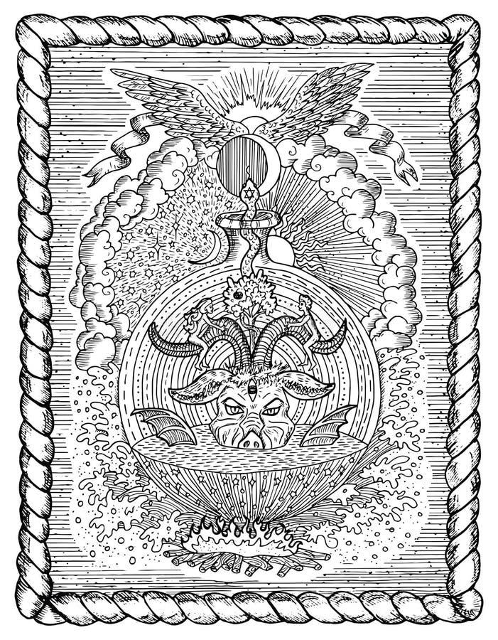 Desenho preto e branco com símbolos religiosos místicos e cristãos como o diabo, a véspera e o Adam, o inferno e o paraíso no qua ilustração do vetor