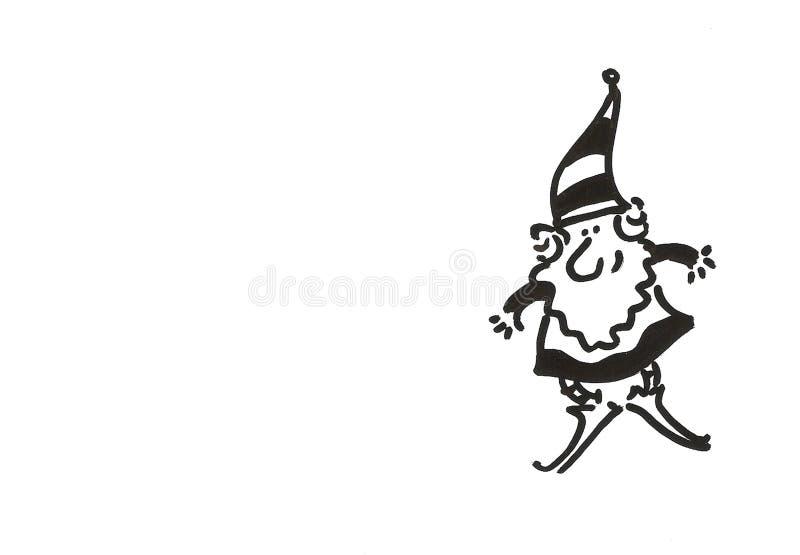 Desenho preto e branco de um gnomo ilustração stock