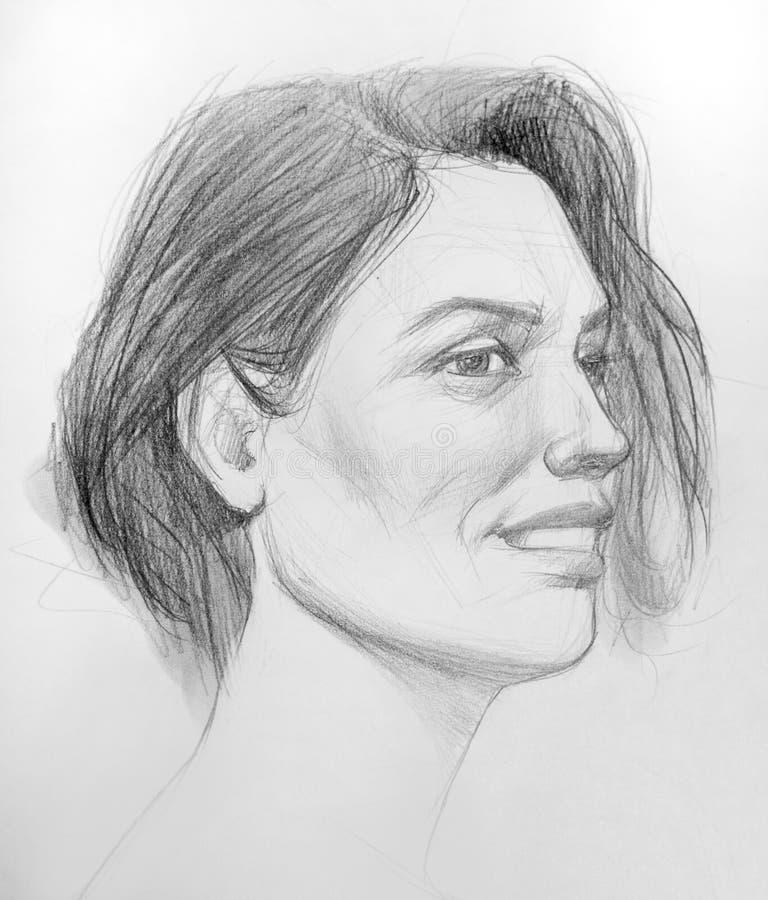 Desenho preto e branco de uma cara da mulher com um leve sorriso foto de stock