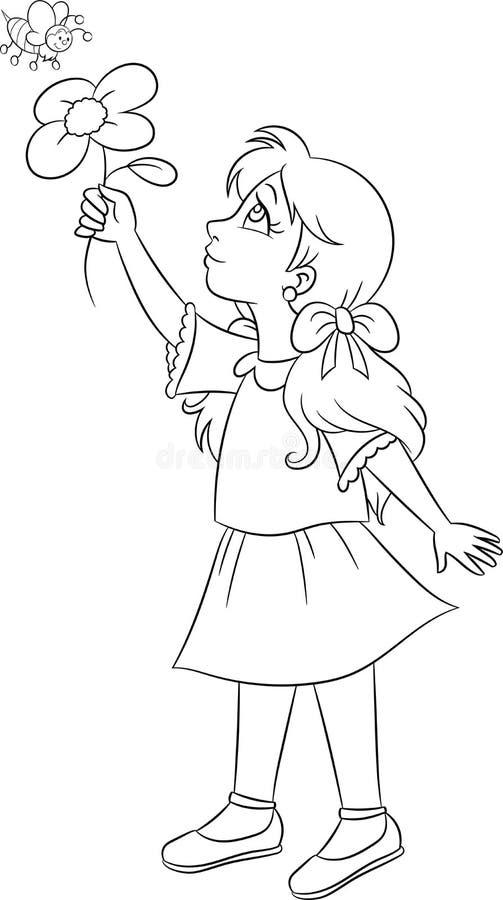 Desenho preto e branco, do contorno do kawaii de uma menina que mostra uma flor a uma abelha para o livro para colorir das crianç ilustração stock