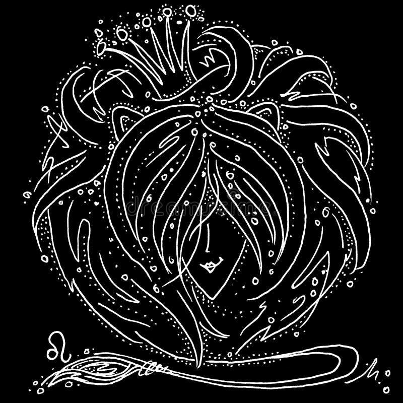 Desenho preto e branco do Le?o do sinal do zod?aco uma menina com cabelo como a juba de um le?o ilustração royalty free