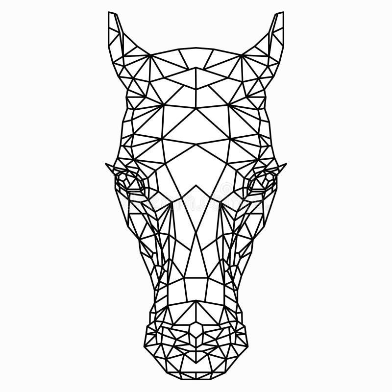 Desenho preto e branco do polígono de uma cabeça do ` s do cavalo ilustração do vetor