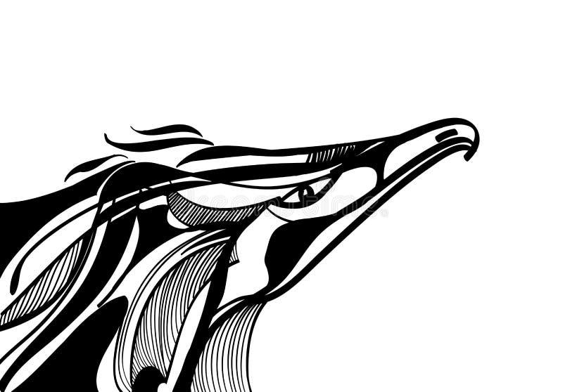 Desenho preto e branco estilizado de uma cabeça da águia ilustração royalty free
