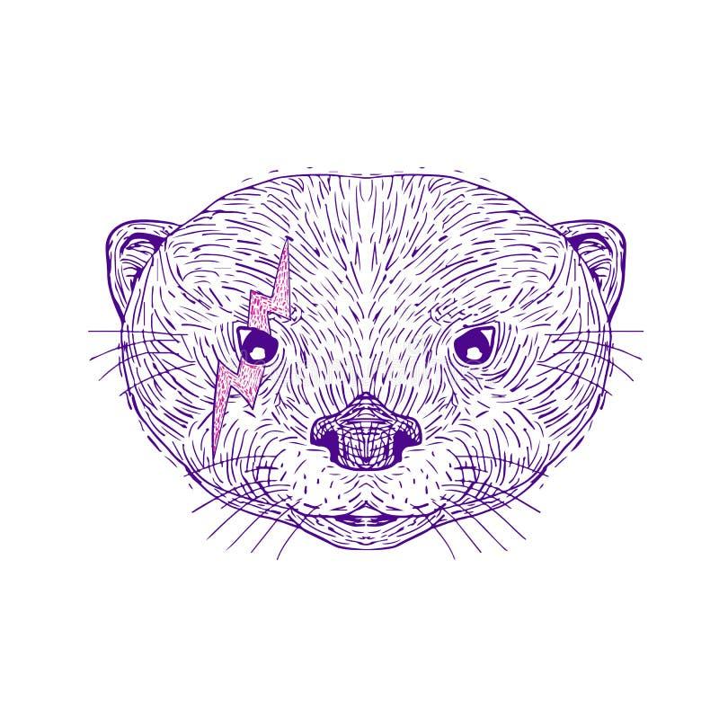 Desenho principal do parafuso de relâmpago da lontra ilustração do vetor