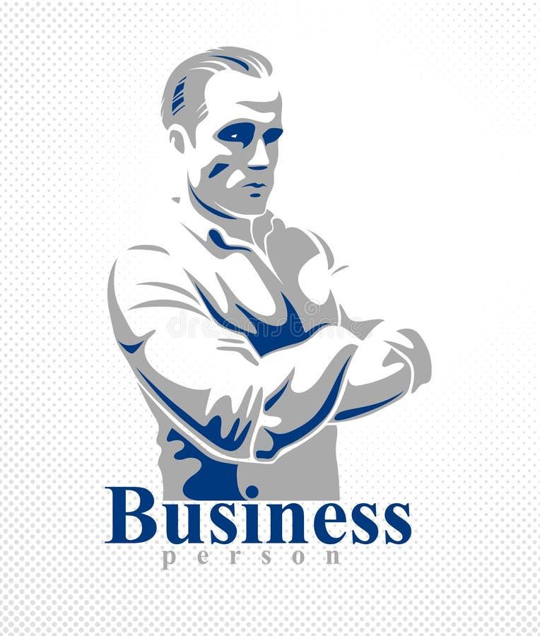 Desenho realístico considerável do logotipo ou da ilustração do vetor da pessoa do negócio do homem do homem de negócios bem suce ilustração stock