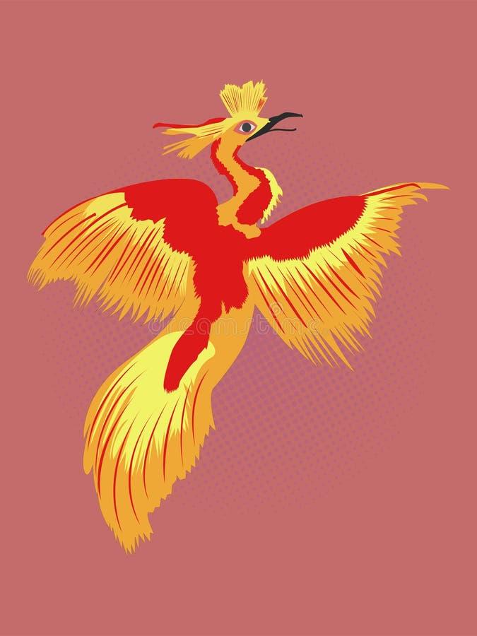 Desenho renascido do pop art de Phoenix Desenho do pássaro do fogo ilustração stock