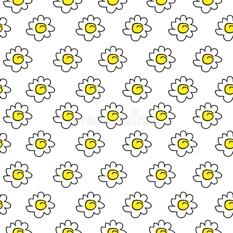 Desenho sem emenda amarelo floral isolado da camomila Ilustração do vetor Teste padrão sem emenda das margaridas brancas em um fu ilustração do vetor