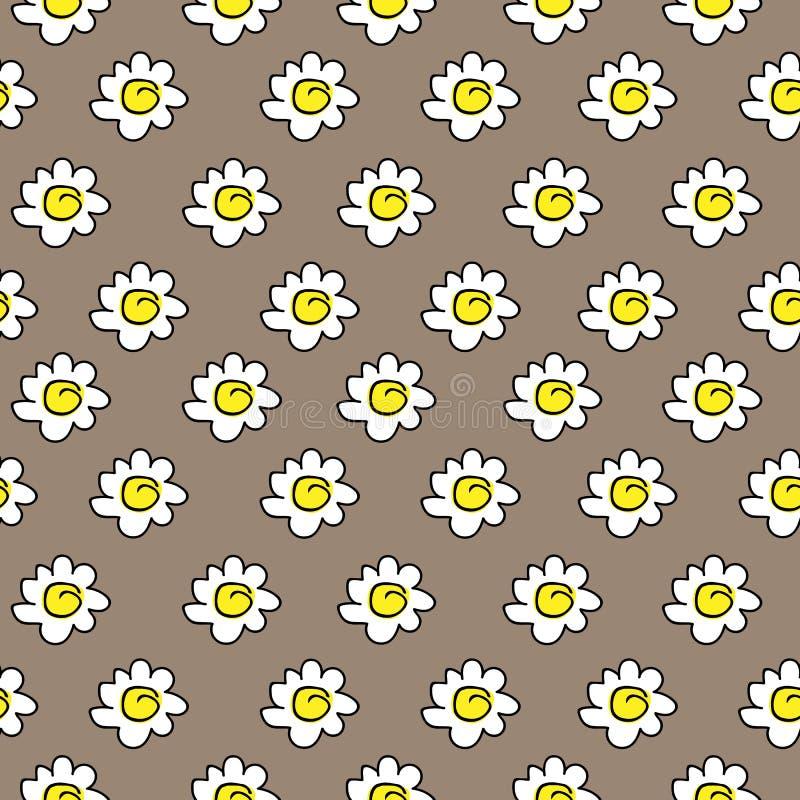 Desenho sem emenda bege floral da camomila Ilustração do vetor Teste padrão sem emenda das margaridas brancas em um fundo marrom ilustração do vetor