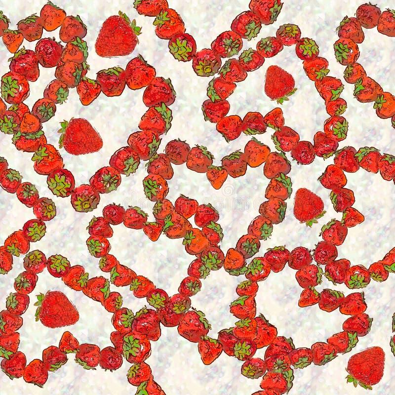 Desenho sem emenda do fundo - coração das bagas da morango ilustração royalty free