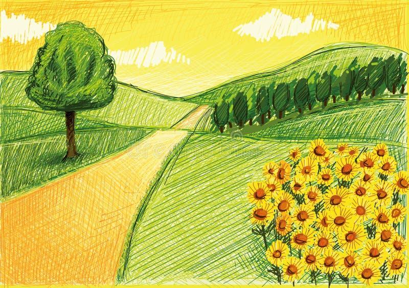 Desenho simples de uma paisagem ilustração stock