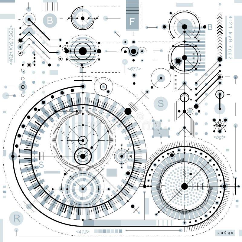 Desenho técnico com linhas tracejadas e formas geométricas, vetor ilustração royalty free