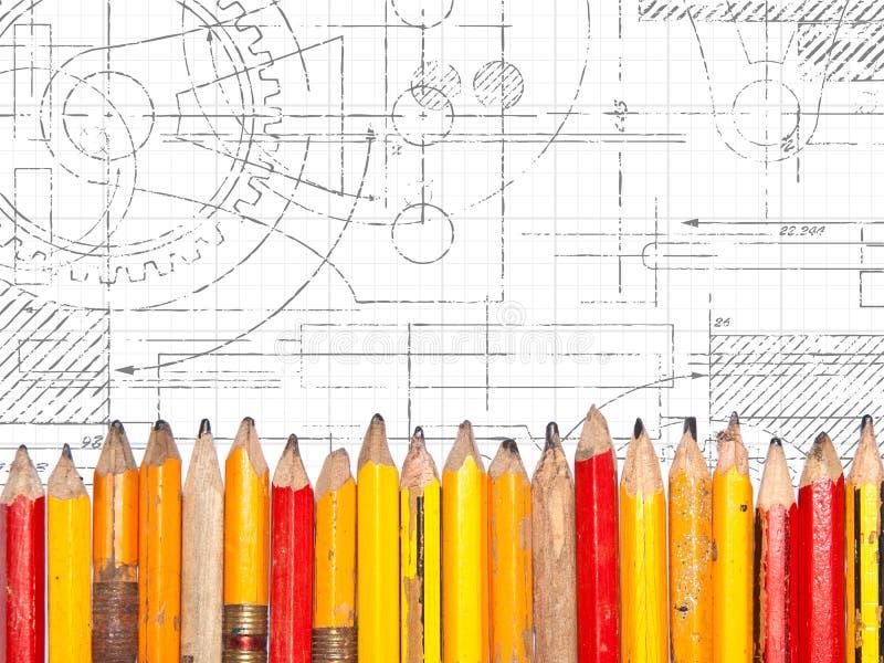 Desenho técnico dos lápis velhos imagens de stock