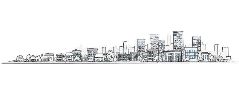 Desenho urbano da mão da paisagem com fundo da skyline da cidade ilustração stock