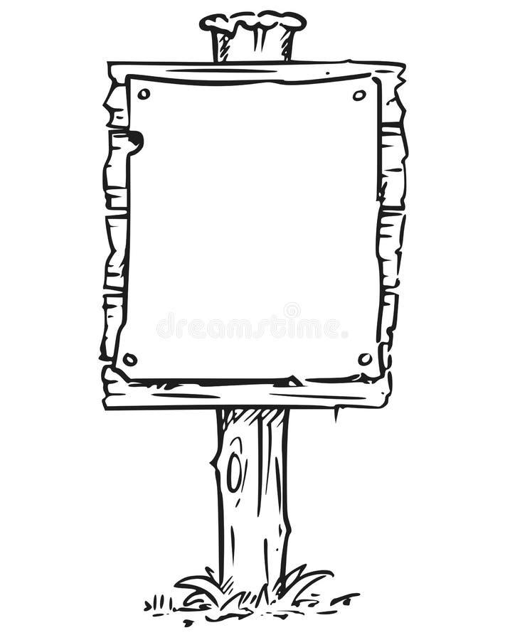 Desenho vazio vazio da placa do sinal ilustração royalty free