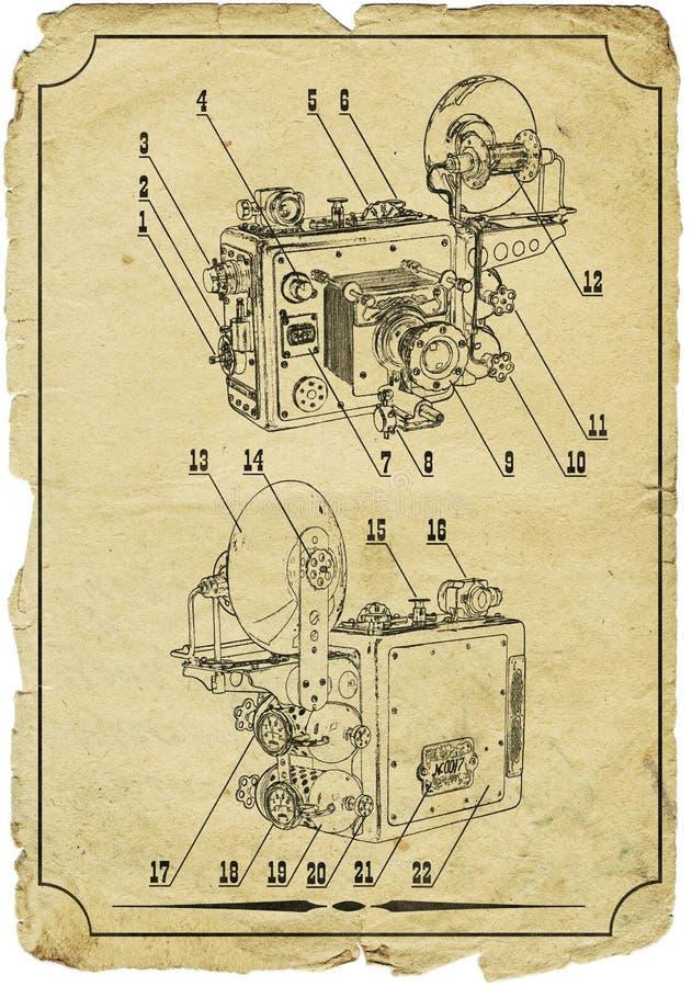 Desenho velho da câmera fotografia de stock royalty free