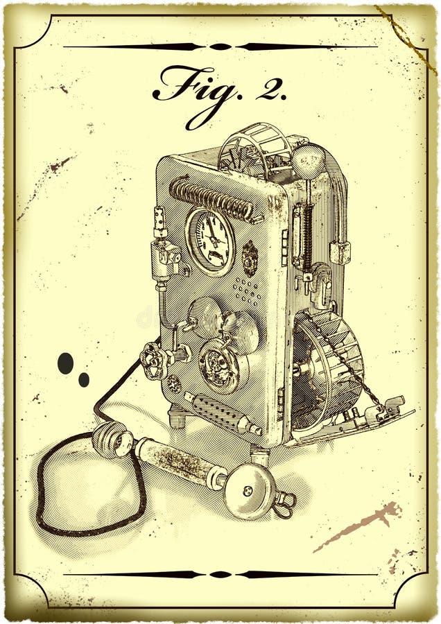 Desenho velho do telefone. ilustração stock