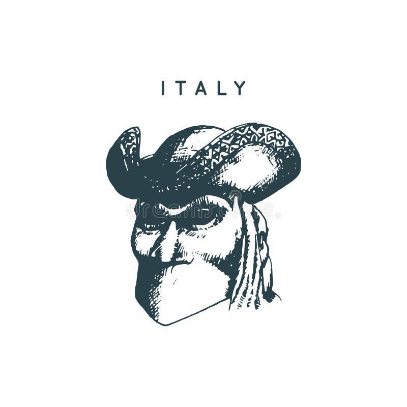 Desenho Venetian da máscara Símbolo turístico de Veneza Ilustração esboçada mão do vetor de vistas de Itália ilustração royalty free