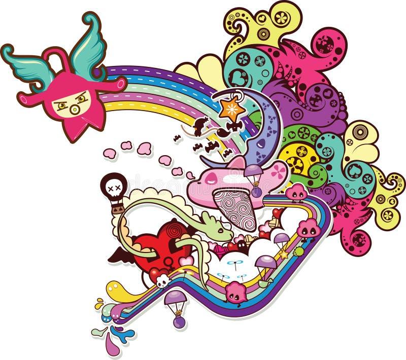 Desenhos animados abstratos F ilustração stock