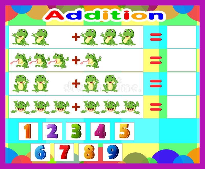 Desenhos animados adicionais da rã do jogo, jogo educacional da matemática para crianças ilustração do vetor