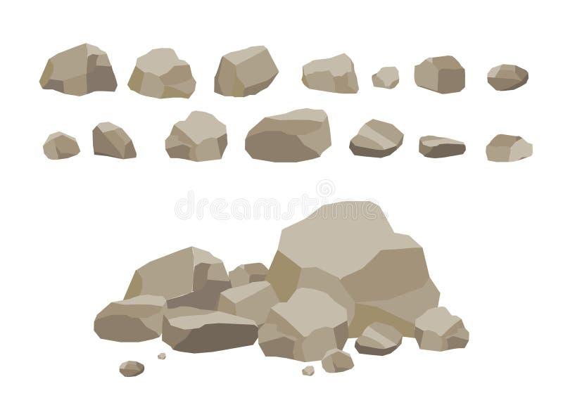 Desenhos animados ajustados da pedra da rocha Pedras e rochas no estilo 3d liso isométrico Grupo de pedregulhos diferentes Jogo d ilustração royalty free