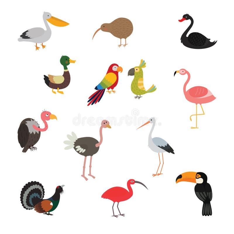 Desenhos animados ajustados do pássaro coloridos ilustração stock