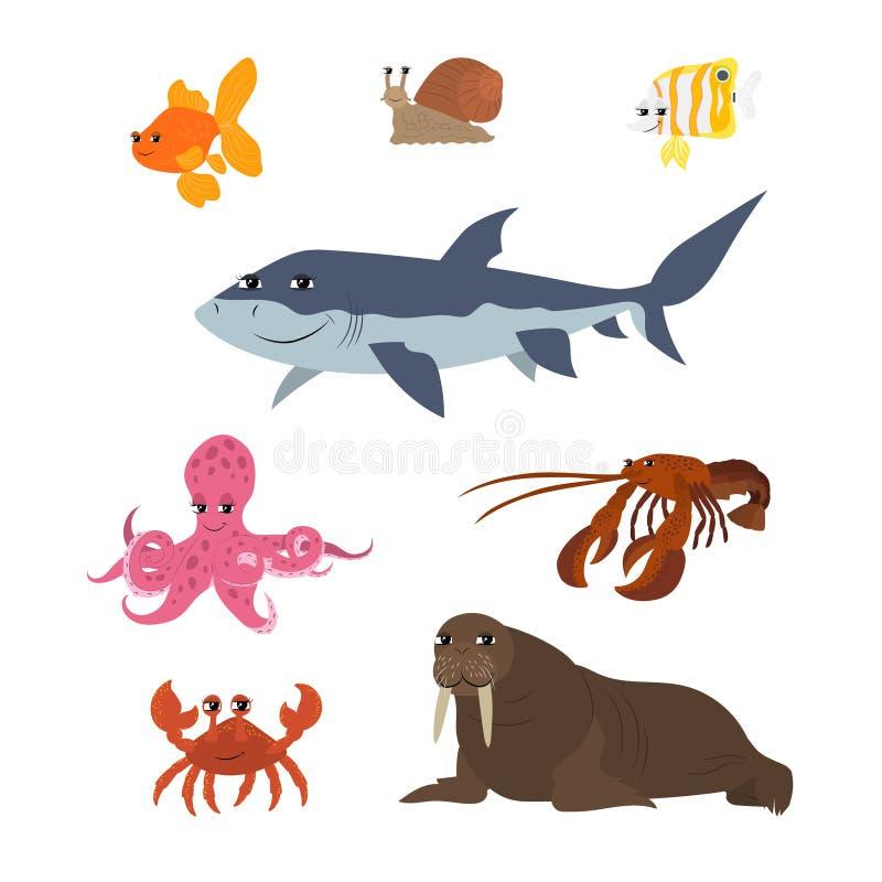Desenhos animados ajustados: lagosta da morsa do caranguejo do polvo da borboleta dos peixes do tubarão do caracol do peixe doura ilustração do vetor