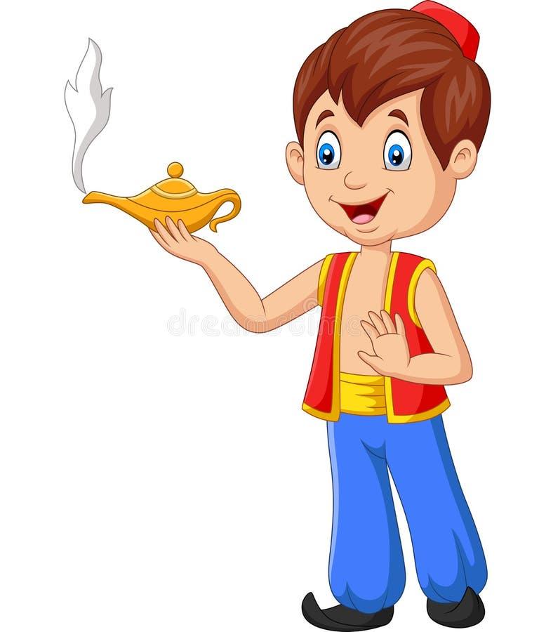 Desenhos animados Aladdin pequeno que guarda sua lâmpada mágica ilustração do vetor