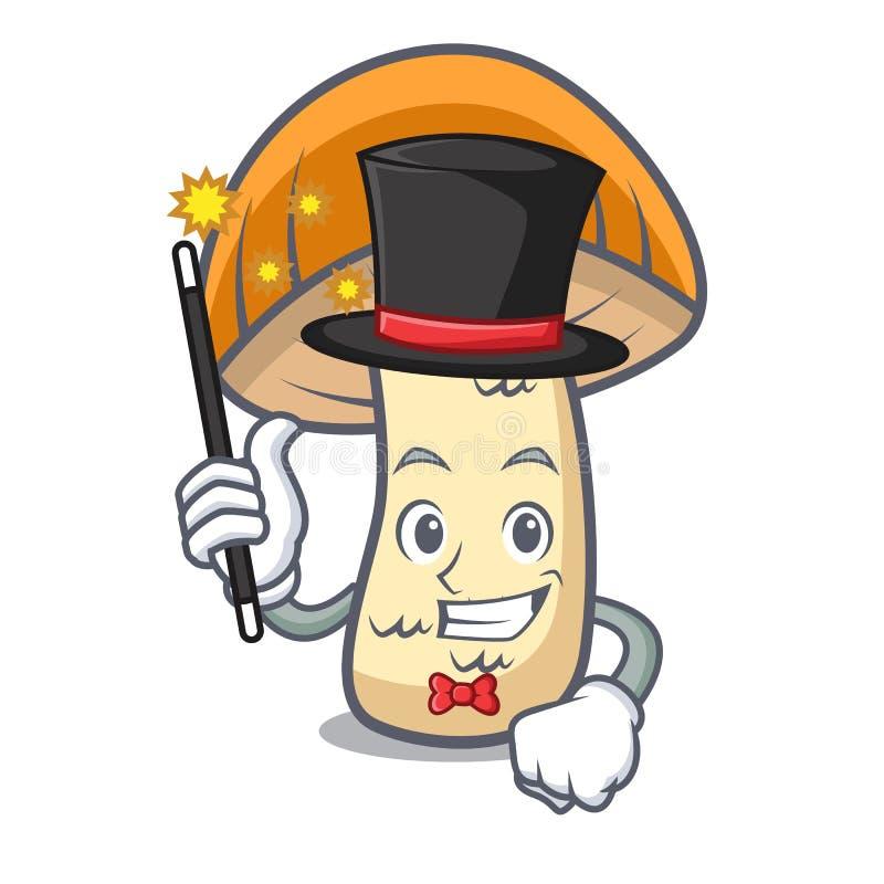 Desenhos animados alaranjados da mascote do cogumelo do boleto do tampão do mágico ilustração do vetor