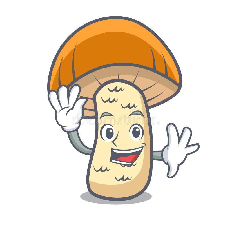 Desenhos animados alaranjados de ondulação do caráter do cogumelo do boleto do tampão ilustração do vetor
