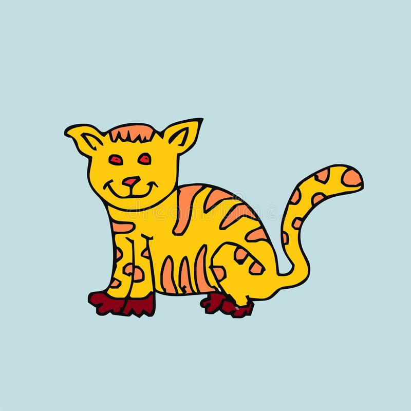 Desenhos animados amarelos bonitos do gato fotografia de stock royalty free