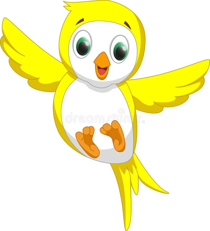 Desenhos animados amarelos bonitos do pássaro ilustração royalty free