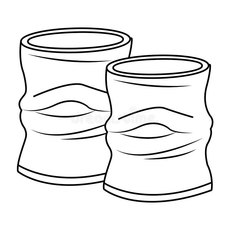 Desenhos animados amarrotados do ícone da lata de alumínio em preto e branco ilustração royalty free