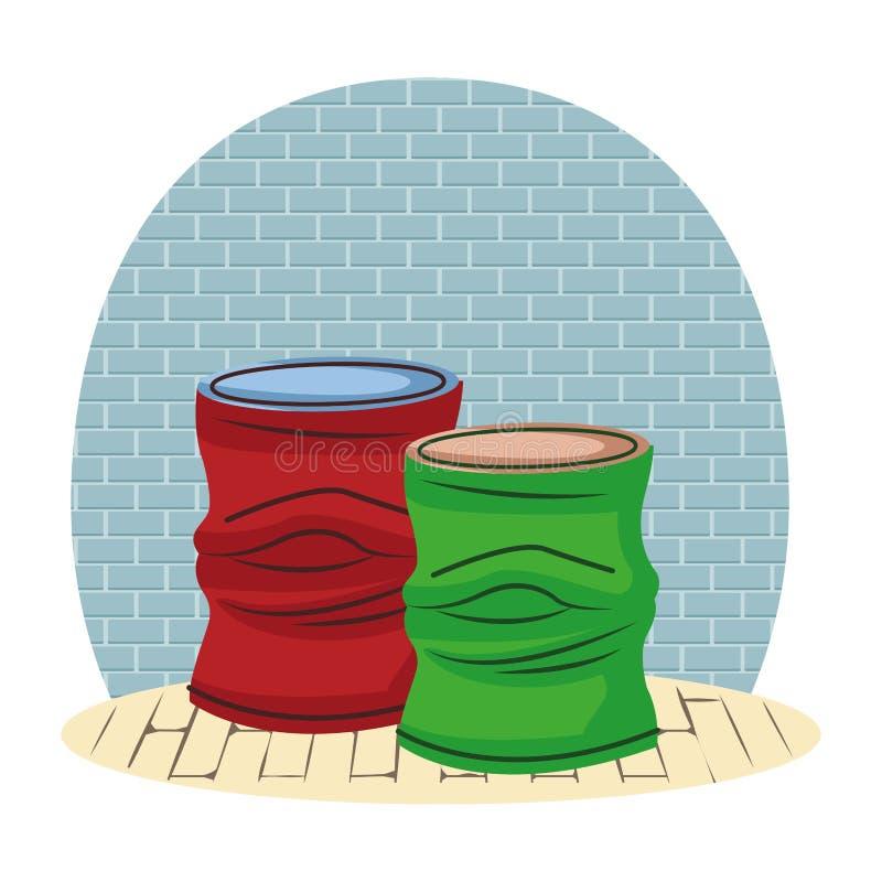 Desenhos animados amarrotados do ícone da lata de alumínio ilustração royalty free