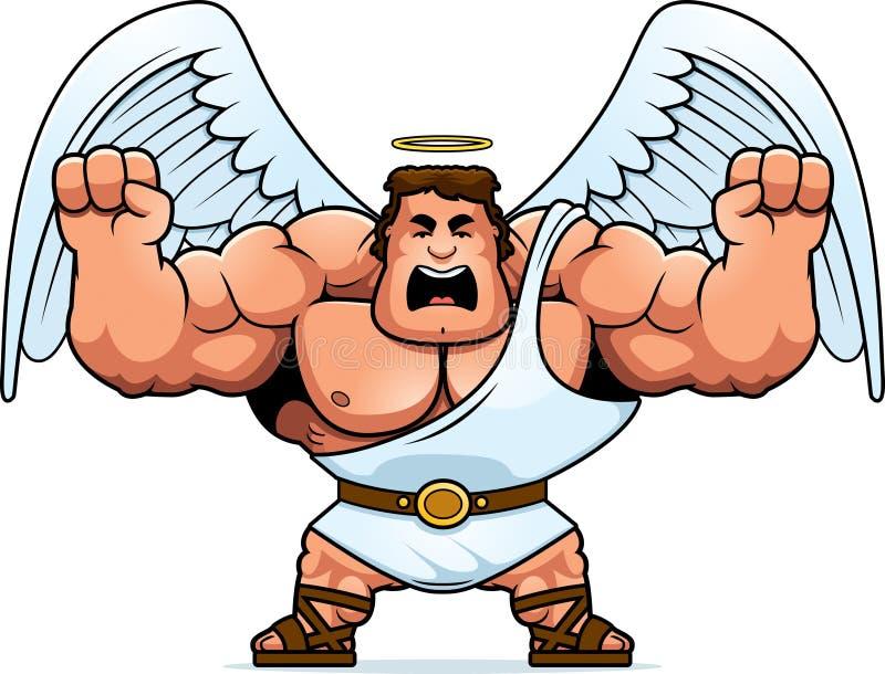 Desenhos animados Angel Angry ilustração stock