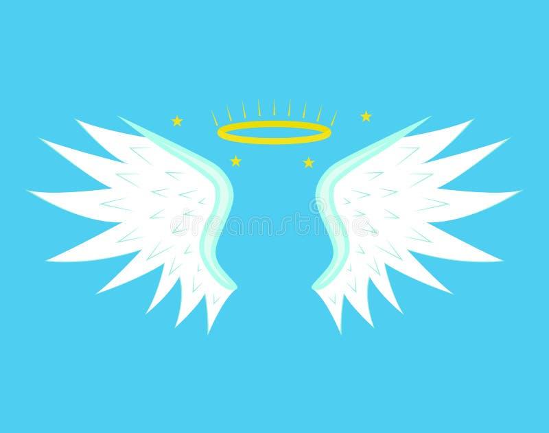 Desenhos animados Angel Wings em um fundo azul Vetor ilustração do vetor