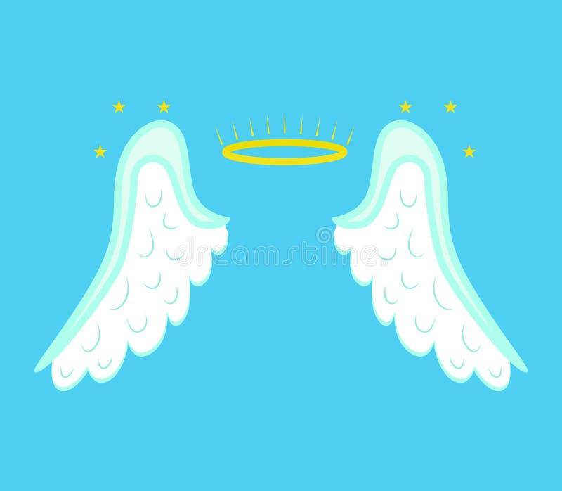 Desenhos animados Angel Wings em um fundo azul Vetor ilustração royalty free