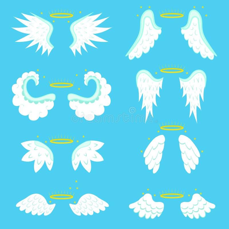 Desenhos animados Angel Wings Set Vetor ilustração stock