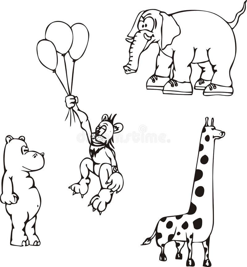 Desenhos Animados Animais Africanos Imagens de Stock